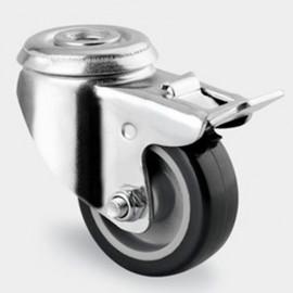 Roulette pivotante avec frein D. 50 mm à trou central 11 mm charge max. 80 kg - 0003109900 - Tente