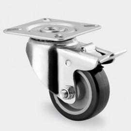 Roulette pivotante avec frein D. 50 mm à platine 60 x 60 mm charge max. 80 kg - 0003110900 - Tente