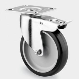 Roulette pivotante avec frein D. 75 mm à platine 60 x 60 mm charge max. 120 kg - 0003111100 - Tente