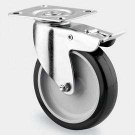 Roulette pivotante avec frein D. 100 mm à platine 77 x 67 mm charge max. 140 kg - 0003111300 - Tente