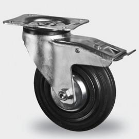 Roulette pivotante avec frein D. 80 mm à platine 105 x 85 mm charge max. 140 kg - 0095884500 - Tente