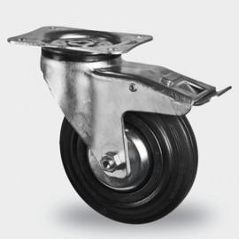 Roulette pivotante avec frein D. 100 mm à platine 105 x 85 mm charge max. 150 kg - 0095884700 - Tente