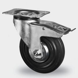 Roulette pivotante avec frein D. 125 mm à platine 105 x 85 mm charge max. 200 kg - 0095884900 - Tente