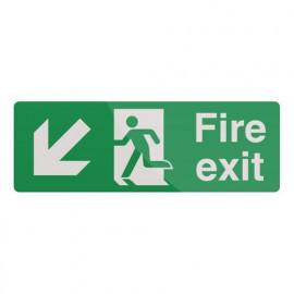 Pancarte de sécurité autocollante 400 x 150 mm Issue de secours avec flèche directionnelle - 292166 - Fixman