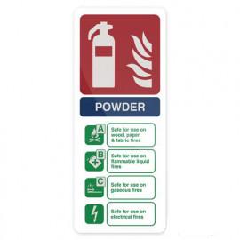 Pancarte de sécurité photoluminescente 202 x 82 mm Extincteur à poudre sèche - 350421 - Fixman
