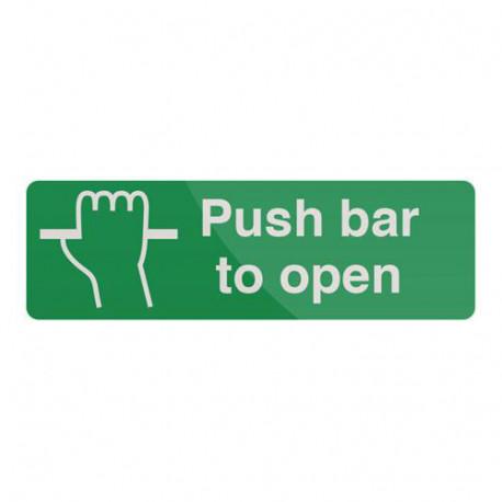 Pancarte de sécurité autocollante 300 x 100 mm Pousser la barre pour ouvrir - 820867 - Fixman
