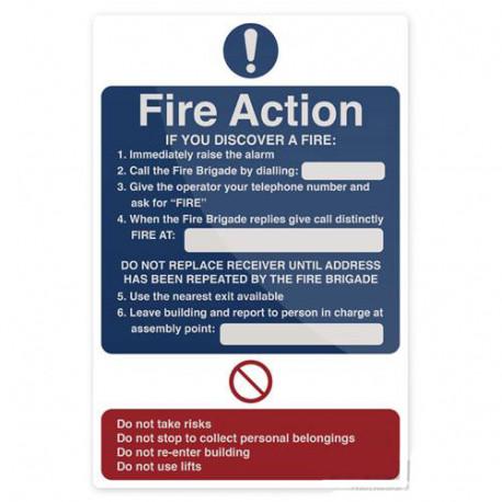 Pancarte de sécurité autocollante 200 x 300 mm Les gestes qui sauvent en cas d'incendie - 955117 - Fixman