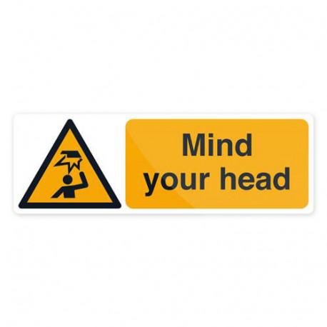 Pancarte de sécurité autocollante 300 x 100 mm Attention à votre tête - 961363 - Fixman