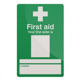 Pancarte de sécurité rigide 200 x 300 mm Personnel chargé des premiers secours - 390578 - Fixman