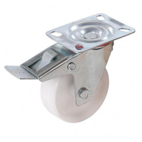 Roulette pivotante à frein en polypropylène D. 100 mm - 125 kg - 392366 - Fixman