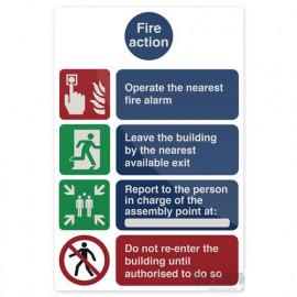 Pancarte de sécurité autocollante 200 x 300 mm Les gestes qui sauvent en cas d'incendie - 405443 - Fixman