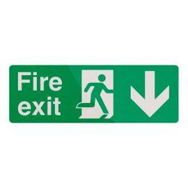 Pancarte de sécurité photoluminescente 400 x 150 mm Issue de secours avec flèche directionnelle - 530774 - Fixman