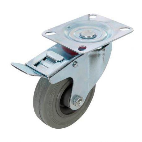 Roulette pivotante à frein en caoutchouc D. 100 mm - 70 kg - 509024 - Fixman