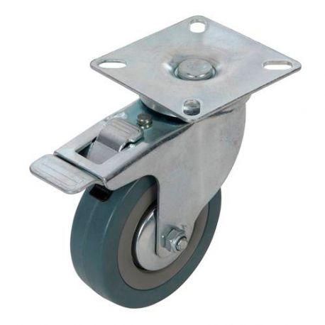 Roulette pivotante à frein en caoutchouc D. 75 mm - 50 kg - 487739 - Fixman