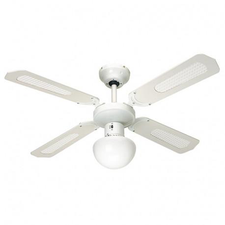 Ventilateur de plafond BALI D. 107 cm 4 pales blanches cannées blanches 50 W 230 V - 112420 - Fartools