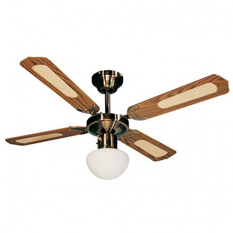 Ventilateur de plafond BALI D. 107 cm 4 pales noyer/cannées noyer 50 W 230 V - 112422 - Fartools