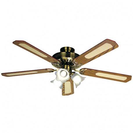 Ventilateur de plafond BALEARES D. 132 cm, 5 pales noyer/cannées noyer 60 W 230 V - 112470 - Fartools