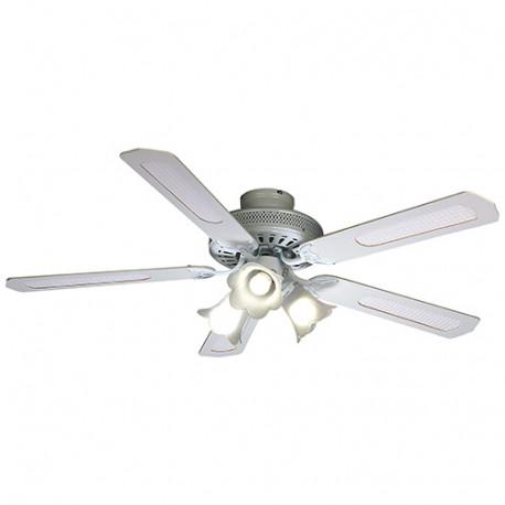 Ventilateur de plafond BALEARES D. 132 cm, 5 pales blanches/cannées blanches 60 W 230 V - 112472 - Fartools