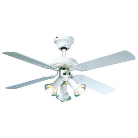 Ventilateur de plafond MALDIVES D. 107 cm 4 pales laquées blanche 3 spots laqué blanc 50 W 230 V - 112615 - Fartools