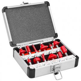 Coffret assortiment 12 mèches de défonceuse carbure Pro Q. 8 mm -  OFS12 - Holzmann