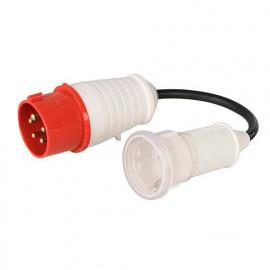 Adaptateur fiche mâle CEE 16 A 400 V - prise femelle Schuko 16 A 230 V -  603073 - Power Master