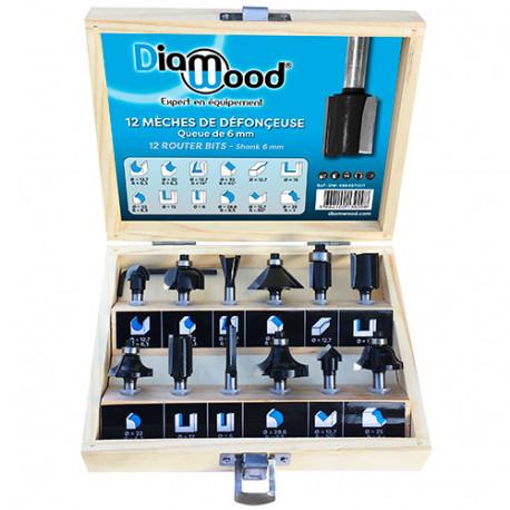 Coffret assortiment de 12 mèches de défonceuse Q. 6 mm - DW-466467001 - Diamwood