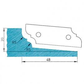 Plaquette profilée 50 x 16 x 2 mm profil 09.1121 N° 1 pour porte-outils plate-bande par-dessous - fixtout Platinum