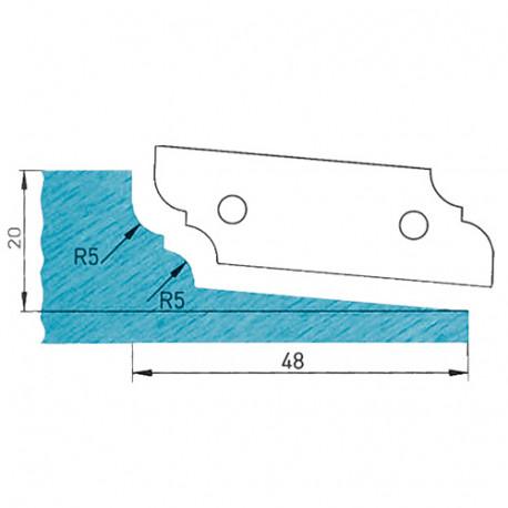 Plaquette profilée 50 x 16 x 2 mm profil 09.1121 N° 1 pour porte-outils plate-bande par-dessous - Diamwood Platinum