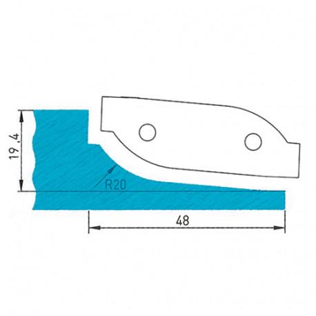 Plaquette profilée 50 x 16 x 2 mm profil 09.1123 N° 3 pour porte-outils plate-bande par-dessous - Diamwood Platinum
