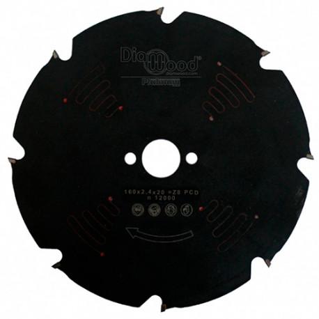 Lame de scie circulaire Diamant - PCD D. 160 x Al. 20 x ép. 2,4 mm x Z8 - Diamwood Platinum