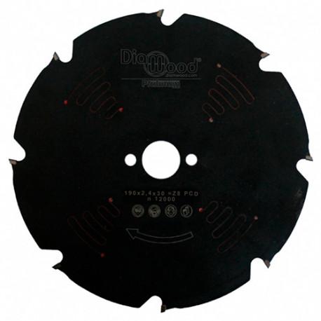 Lame de scie circulaire Diamant - PCD D. 190 x Al. 30 x ép. 2,4 mm x Z8 - Diamwood Platinum