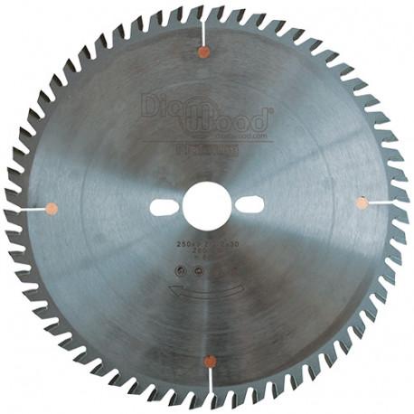 Lame de scie circulaire HM micrograin finition D. 250 x Al. 30 x ép. 3,2 mm x Z60 TP - Diamwood Platinum