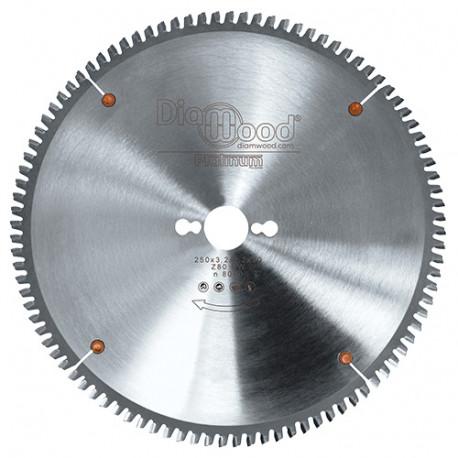 Lame de scie circulaire HM micrograin Alu-métaux D. 250 x Al. 30 x ép. 3,2 mm x Z80 TP Neg - Diamwood Platinum