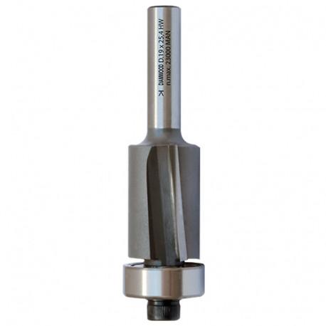 Mèche d'affleureuse biaise HM micrograin + roulement D. 19,1 x Lt. 75 x Lu. 25,4 x Q 8 mm x Z2 - Diamwood Platinum