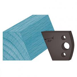 Jeu de 2 contre-fers profilés Ht. 38 x 4 mm chanfrein 22° A01 pour porte-outils de toupie - fixtout Platinum