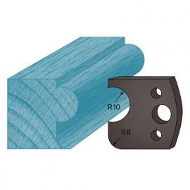 Jeu de 2 contre-fers profilés Ht. 38 x 4 mm boudon et congé A04 pour porte-outils de toupie - fixtout Platinum