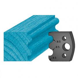 Jeu de 2 contre-fers profilés Ht. 38 x 4 mm double tourillons A06 pour porte-outils de toupie - fixtout Platinum