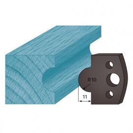 Jeu de 2 contre-fers profilés Ht. 38 x 4 mm gueule de loup A14 pour porte-outils de toupie - fixtout Platinum