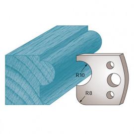 Jeu de 2 fers profilés Ht. 40 x 4 mm boudon et congé M04 pour porte-outils de toupie - fixtout Platinum