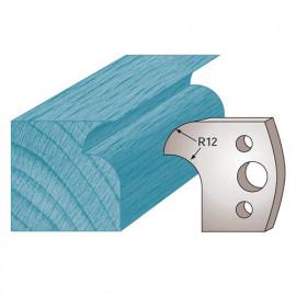 Jeu de 2 fers profilés Ht. 40 x 4 mm quart de rond et congé M05 pour porte-outils de toupie - fixtout Platinum