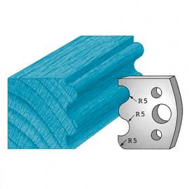 Jeu de 2 fers profilés Ht. 40 x 4 mm double tourillons M06 pour porte-outils de toupie - fixtout Platinum