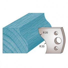 Jeu de 2 fers profilés Ht. 40 x 4 mm doucine M09 pour porte-outils de toupie - fixtout Platinum