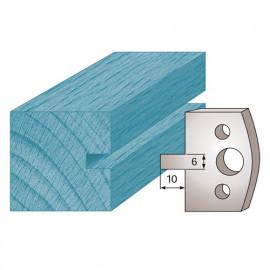 Jeu de 2 fers profilés Ht. 40 x 4 mm rainure 6 mm M16 pour porte-outils de toupie - fixtout Platinum