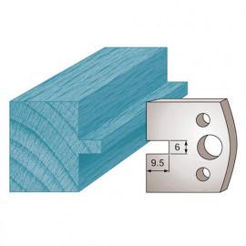 Jeu de 2 fers profilés Ht. 40 x 4 mm languette 6 mm M17 pour porte-outils de toupie - fixtout Platinum
