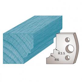 Jeu de 2 fers profilés Ht. 40 x 4 mm quart de rond avec talon M19 pour porte-outils de toupie - fixtout Platinum