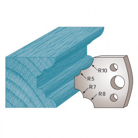 Jeu de 2 fers profilés Ht. 40 x 4 mm quart de rond multiples M22 pour porte-outils de toupie - fixtout Platinum
