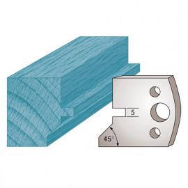 Jeu de 2 fers profilés Ht. 40 x 4 mm languette et chanfrein M83 pour porte-outils de toupie - fixtout Platinum