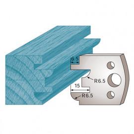 Jeu de 2 fers profilés Ht. 40 x 4 mm profil / contre-profil M96 pour porte-outils de toupie - fixtout Platinum