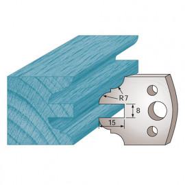 Jeu de 2 fers profilés Ht. 40 x 4 mm contre-profil avt 15 mm M99 pour porte-outils de toupie - fixtout Platinum