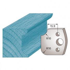 Jeu de 2 fers profilés Ht. 40 x 4 mm congé et quart de rond M175 pour porte-outils de toupie - fixtout Platinum